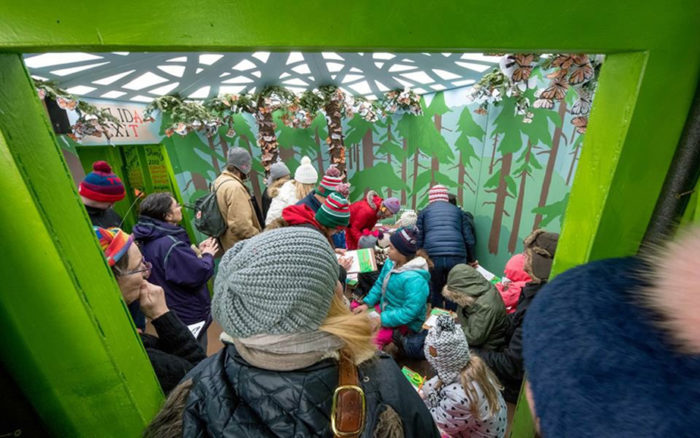 Inside the brightly lit pollinator shanty, the bobble hatted heads of many adults and children in lots of different colors. We look in through a pea green doorway into a room painted with fir trees. Paper butterflies cascade in clumps from the ceiling.