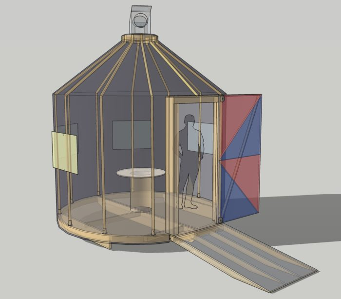 An illustration of a human figure, standing inside the can-shaped Opticon Shanty, with a ramp, windows, and a periscope.