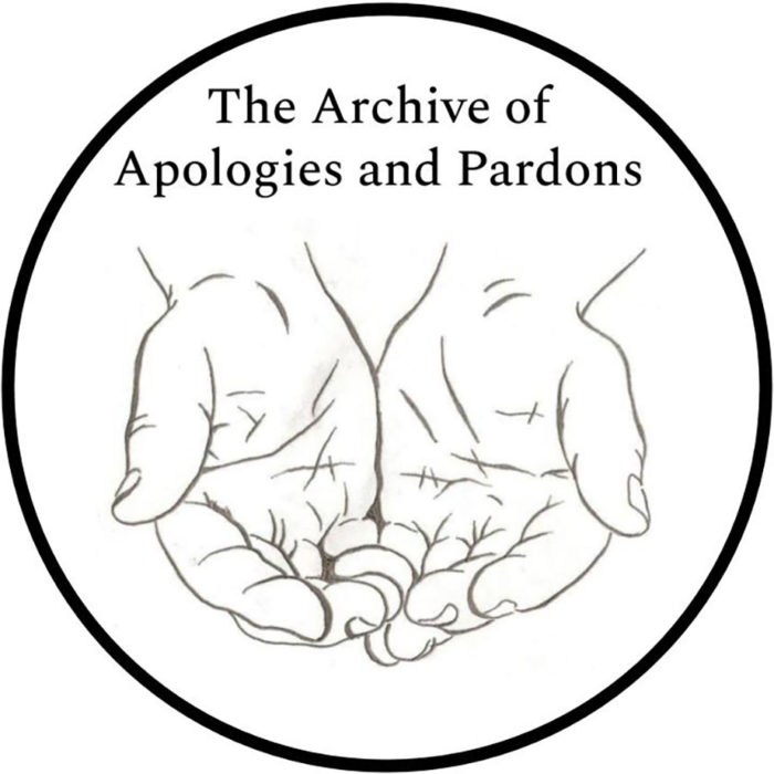 "A line drawing of a set of outstretched hands with text ""The Archive of Apologies and Pardons"" in a circle"