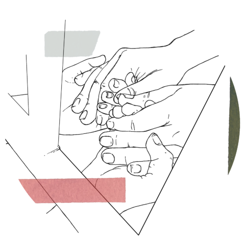 A drawing of one set of hands, palms face up, holding another set of hands, palms facing down, each squeezing the other's fingertips. It appears as if we're seeing these hands through a window frame, and a stripe each of grey, rose, and dark green each intersect a different part of the illustration.