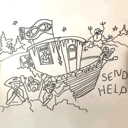 "Line drawing of a ship wreck, people singing, an angry snowman and the words ""SEND HELP"""