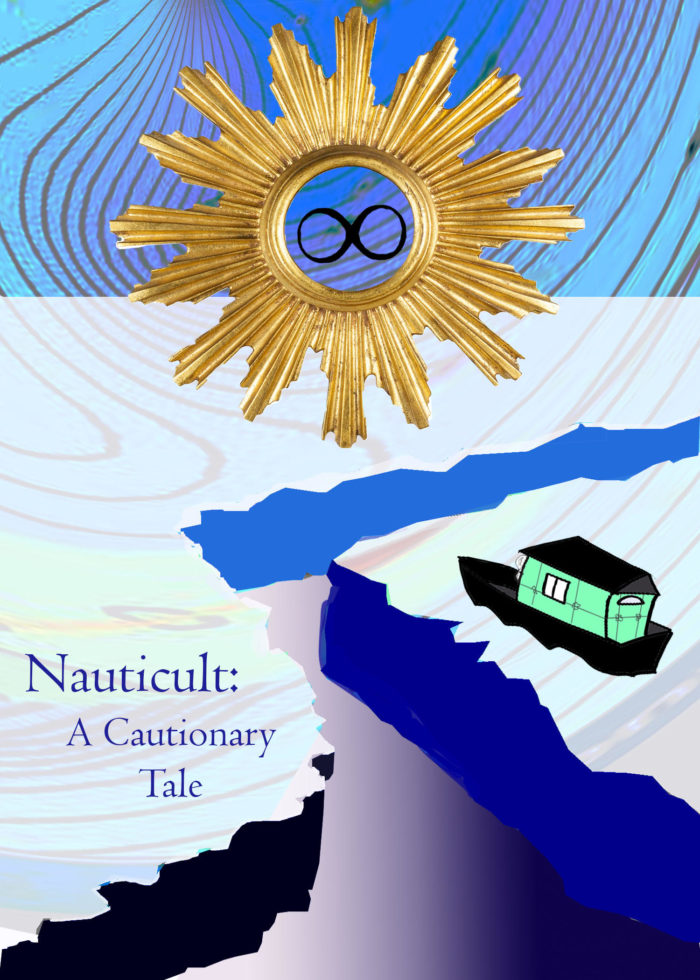 """A digital collage, a metallic golden sun's hollow center reveals an infinity symbol. Underneath, a cracked ice sheet separates a stranded houseboat and the words """"Nauticult: A Cautionary Tale"""". Gold lines like a topographical map run faintly in the background."""