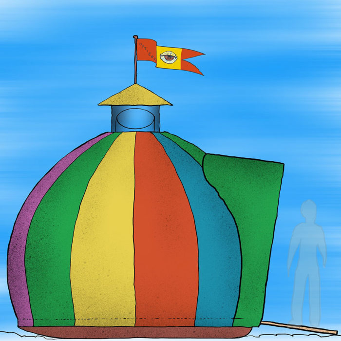 A rainbow striped globe-shaped tent with a flag on top