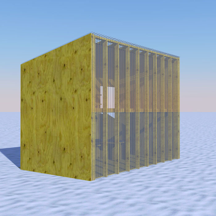 a rendering of a wooden and clear shanty on the snowy lake
