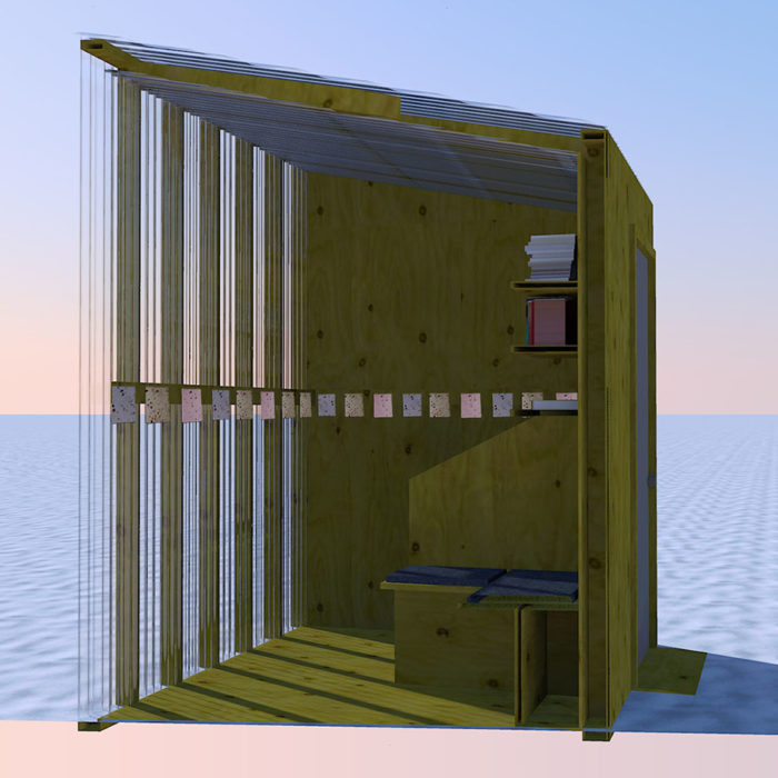 A rendering of a wooden and clear shanty on the snowy lake. There are shelves on the wall, and a little bench on the floor. Seed packets are attached to a board running around the inside edge of the shanty.