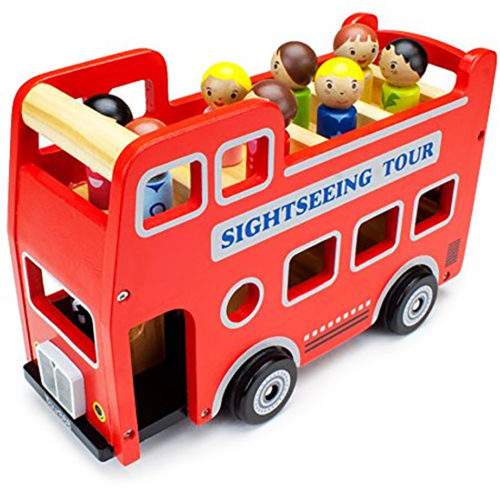 photo of red toy double-decker bus