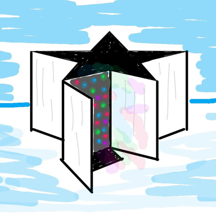 Drawing of a star-shaped structure with colorful dots on a side