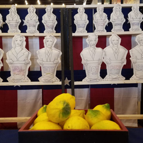 Photo of shelves of political candidates as hand-drawn knockdown toys with a bowl of lemons.