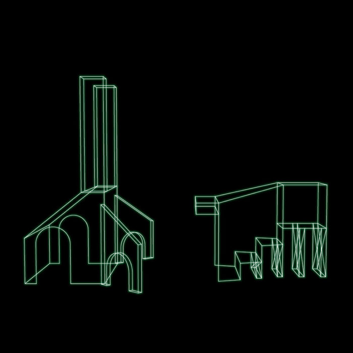 White line drawing on black background of 2 structures- one with arches, one wtih steps