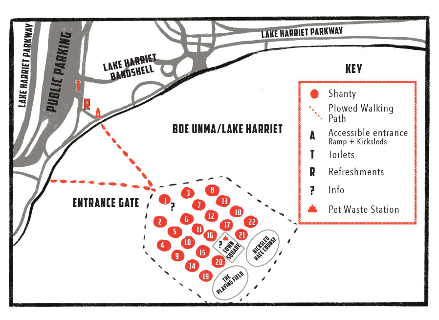 2020 Art Shanty Projects Map, showing entrance gate from Lake Harriet Bandshell and shanties numbered with small orange spots.
