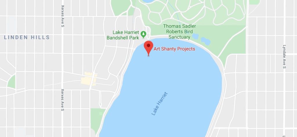 A map placing Art Shanty Projects on the Northwest part of Lake Harriet.