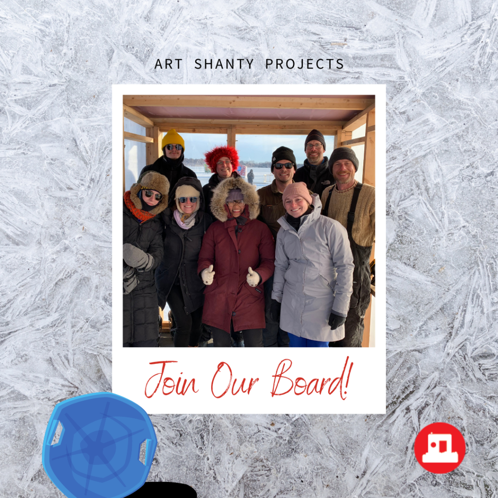 a polaroid photo of nine smiling board members dressed in winter clothing against an icy backdrop on a sunny winter day