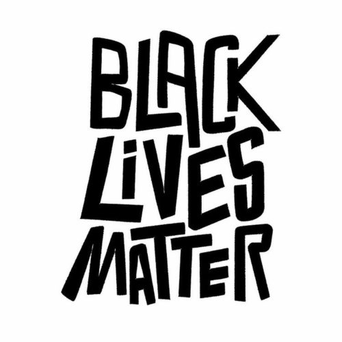 bold black letters read 'black lives matter' on a white square background
