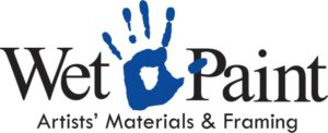 """A logo contains a blue handprint is in the middle of the words """"Wet Paint"""". Below in smaller letters it reads """"Artists' Materials & Framing"""""""